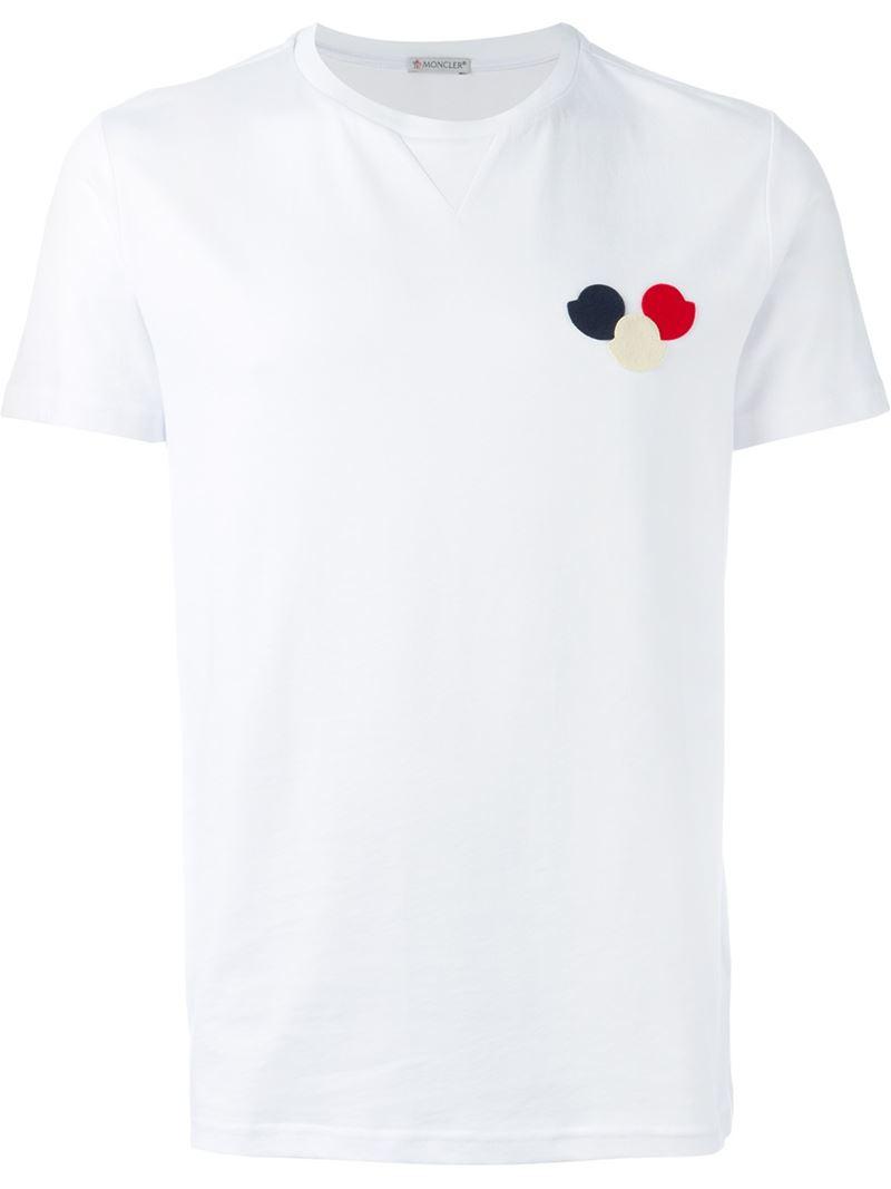 78791980b Moncler White Logo Patch Cotton T-Shirt for men