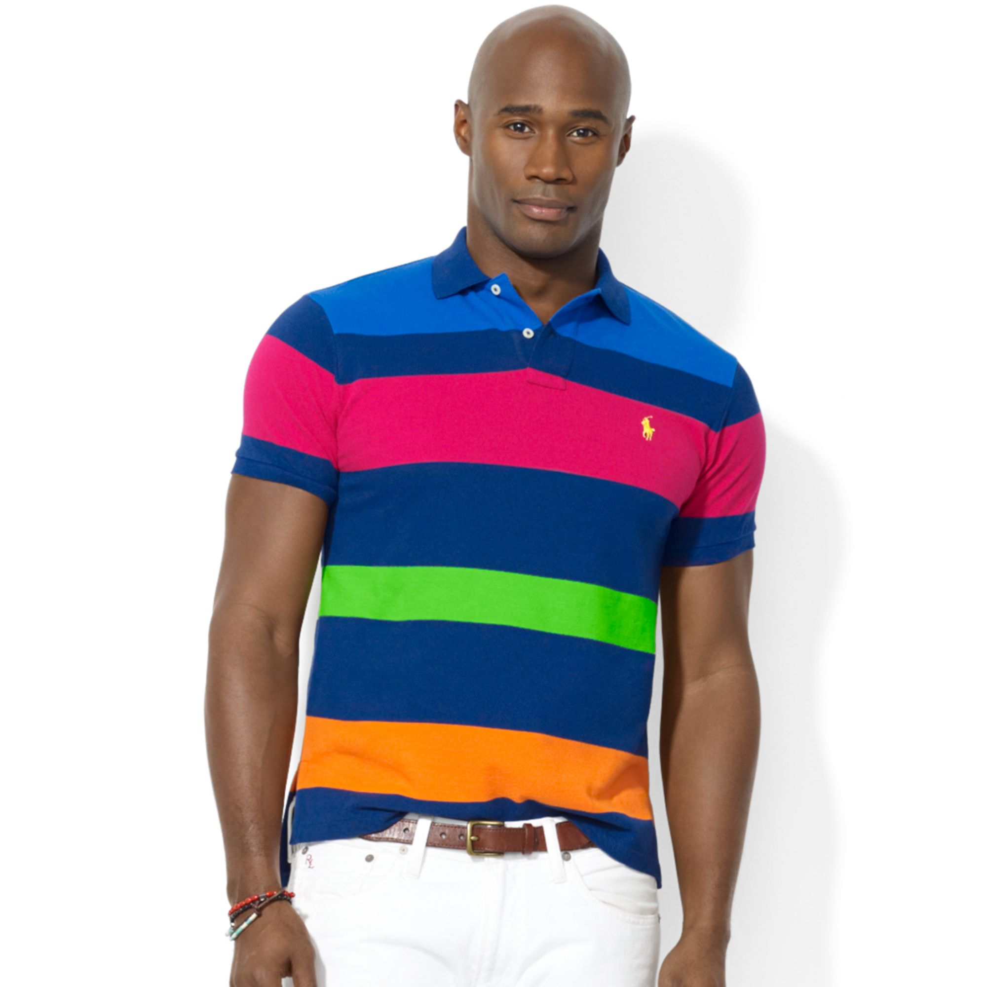Lyst - Ralph Lauren Polo Big and Tall Classic Fit Multi Striped Mesh ... 39a7c6c4efd15