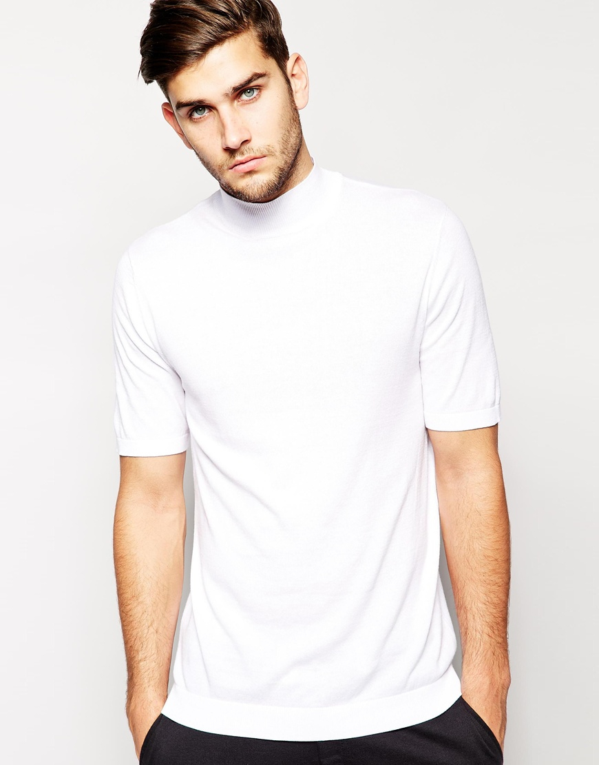 Asos Knitted T Shirt With Turtleneck In White For Men Lyst