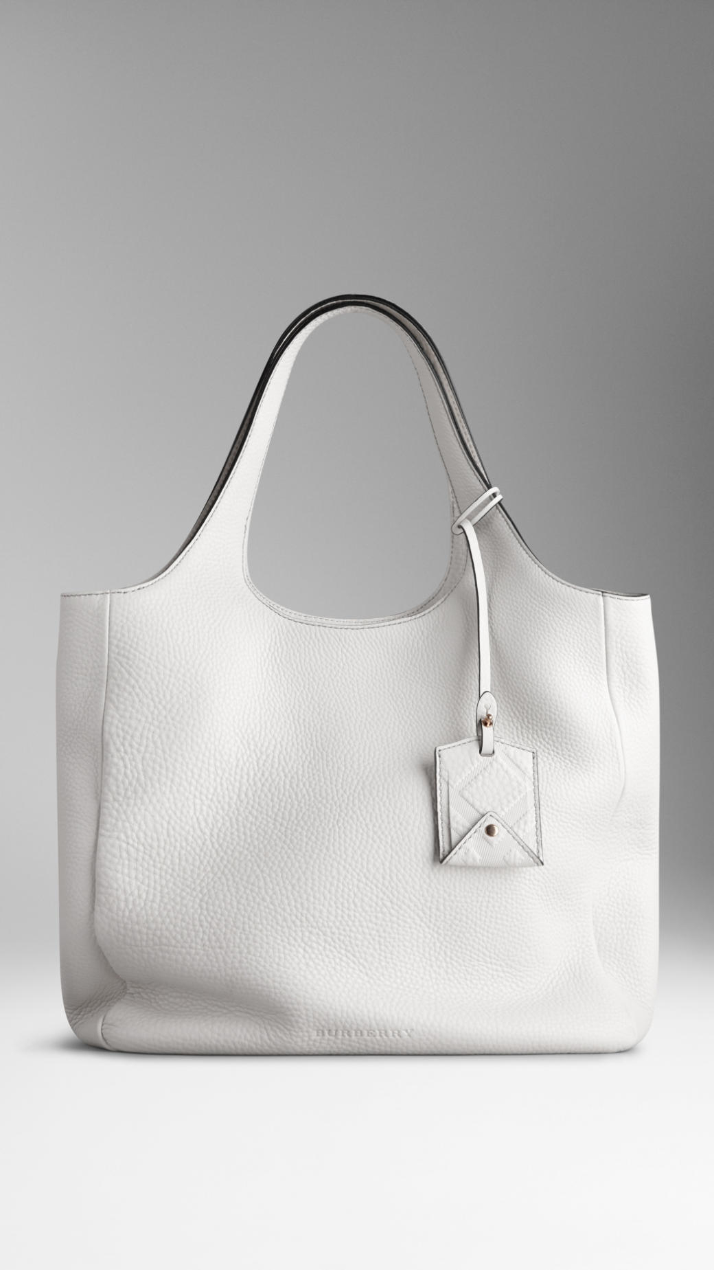 Lyst - Burberry Grainy Leather Shopper in White 520c4516478af