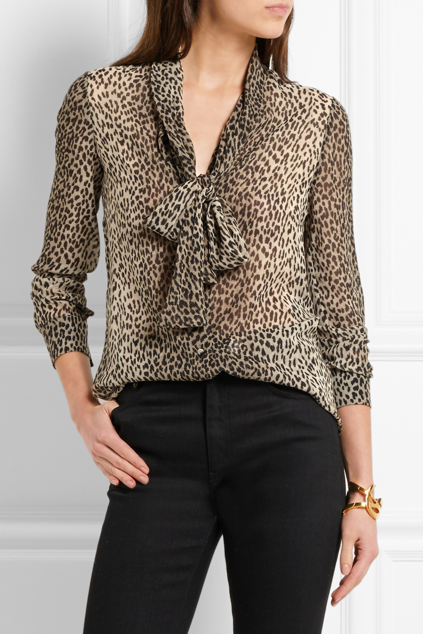ccc9a8e3cd39d Lyst - Saint Laurent Pussy-bow Leopard-print Silk-georgette Shirt