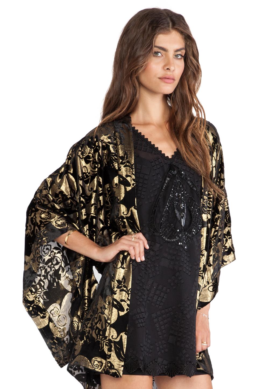 5f93247acacbe Anna Sui Village Burnout Velvet Kimono in Metallic - Lyst