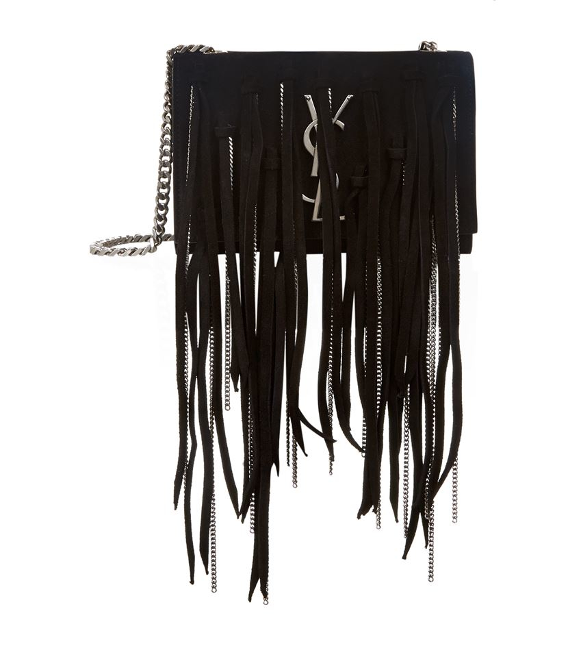ysl chyc crossbody - monogram small suede shoulder bag w/chain fringe, black