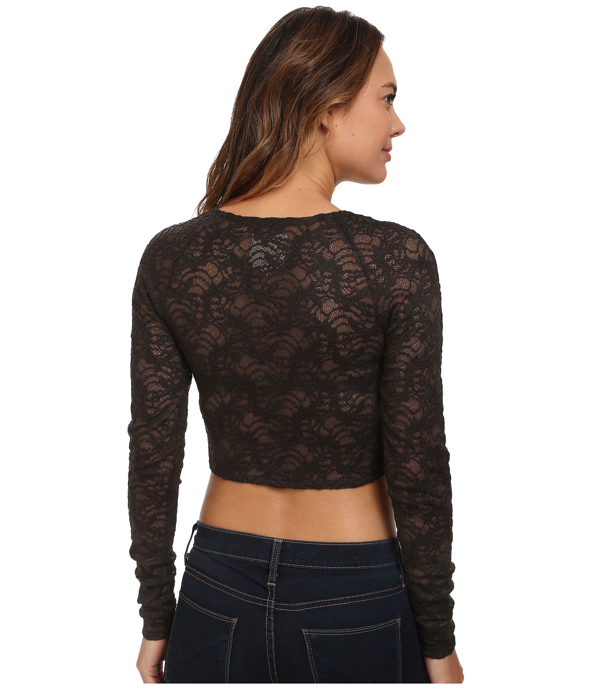 Lyst - Chaser Stretch Lace Crop Long Sleeve Top in Black 28ed10a3d06f