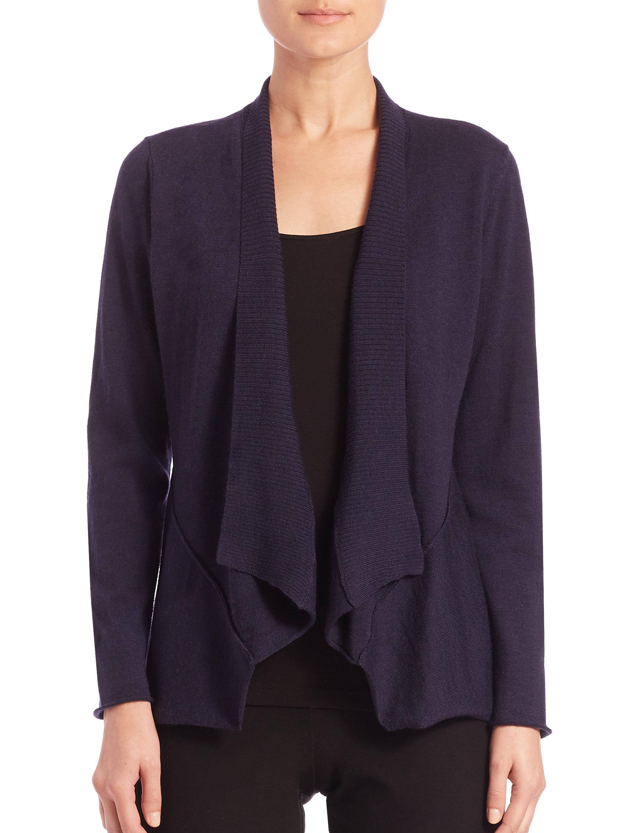Eileen fisher Merino Wool Open Cardigan in Black | Lyst