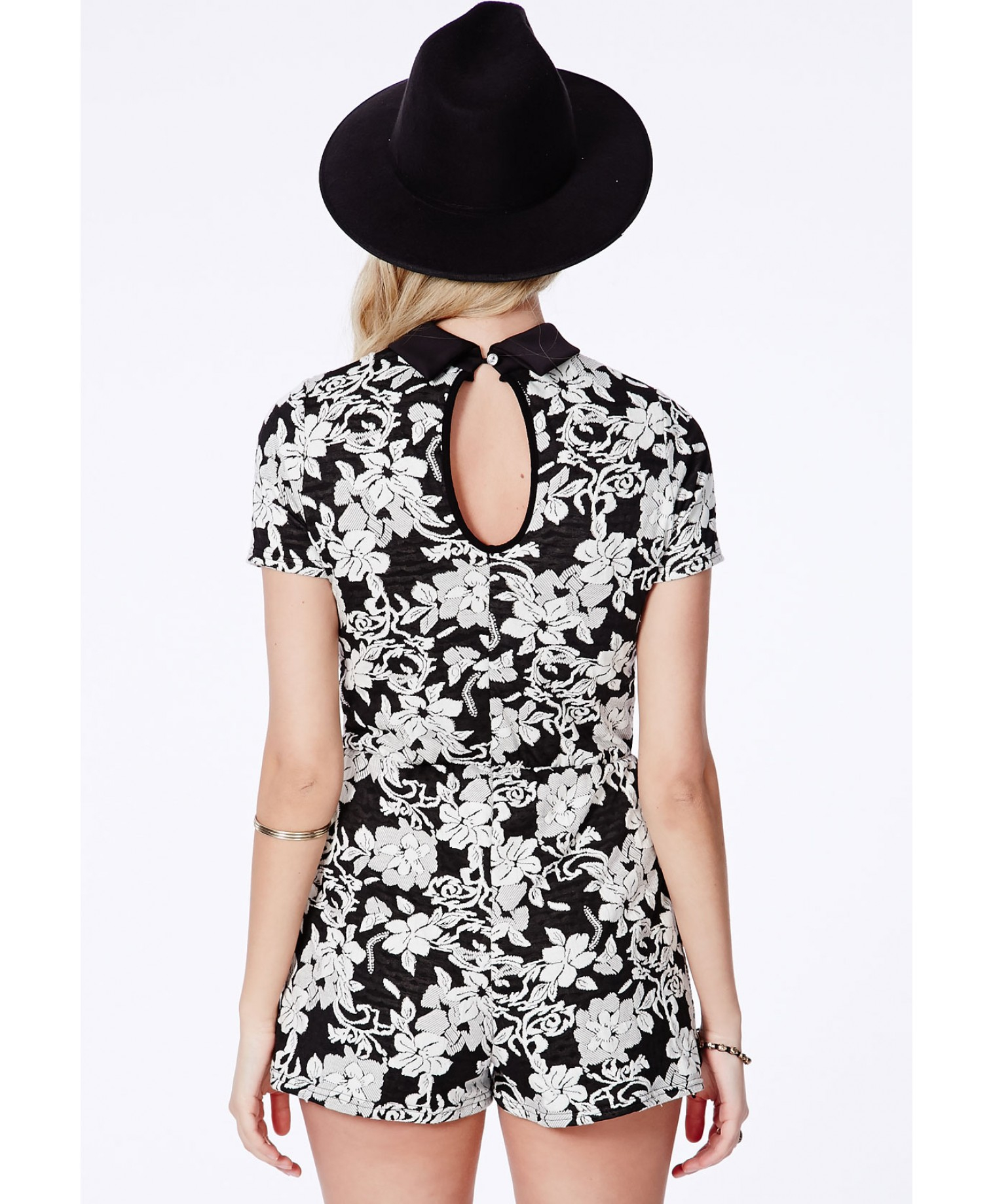 Missguided Lizara Floral Playsuit with Peter Pan Collar