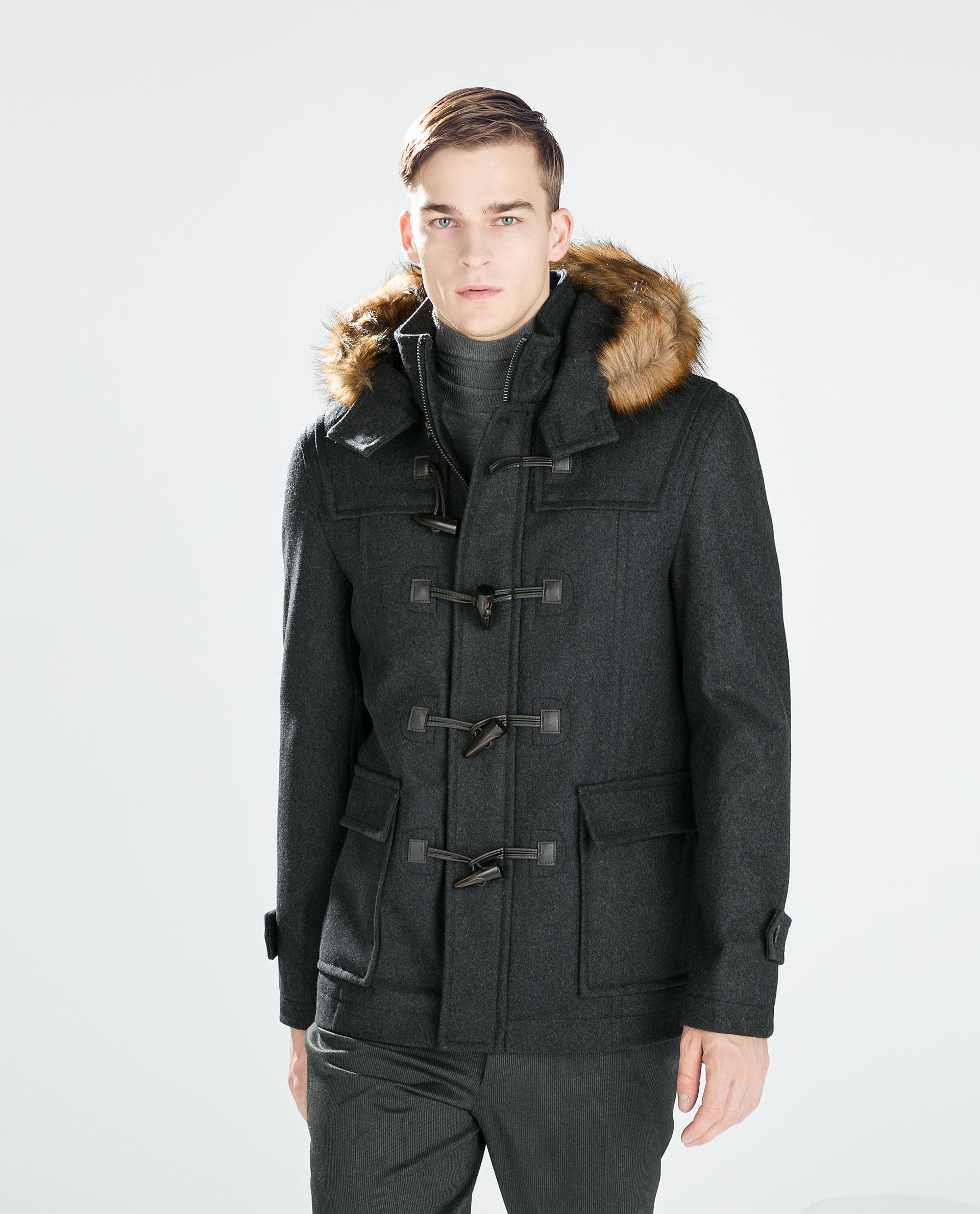 Zara Hooded Duffle Coat in Gray for Men | Lyst