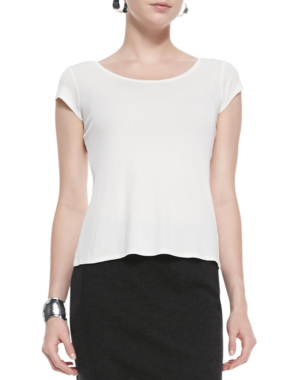 Eileen Fisher Silk Jersey Cap Sleeve Tee In White Lyst