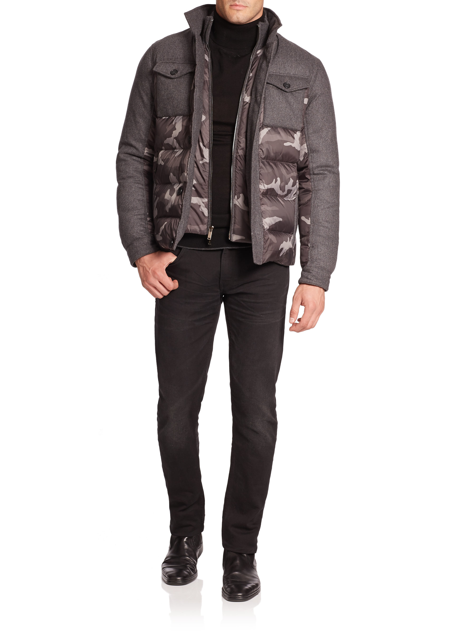 Lyst Michael Kors Camo Puffer Jacket In Gray For Men