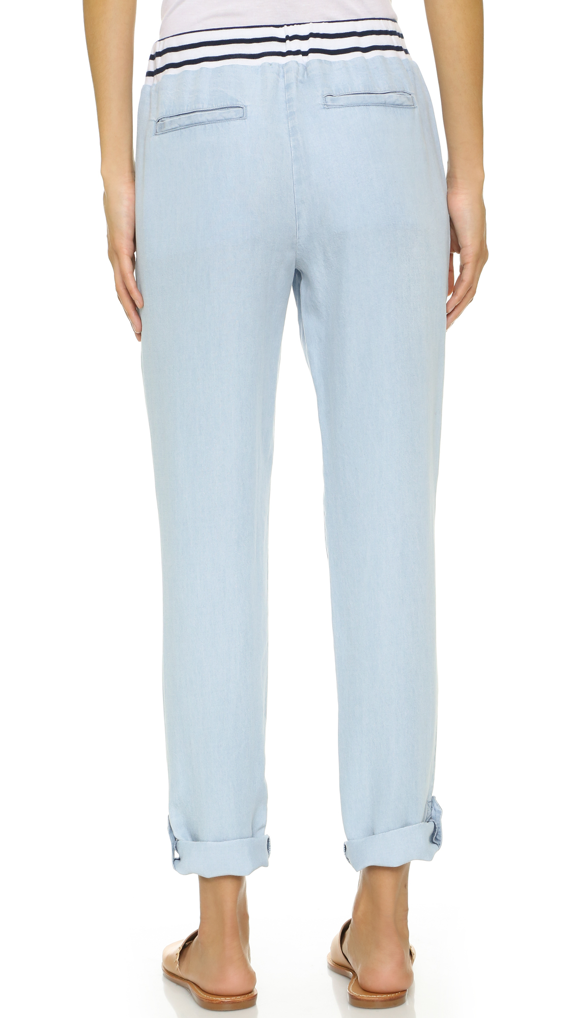 Lyst splendid cielo chambray pants in blue for Chambray jeans