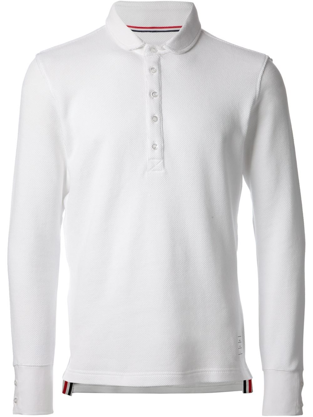 Lyst thom browne long sleeve polo shirt in white for men for Thom browne white shirt