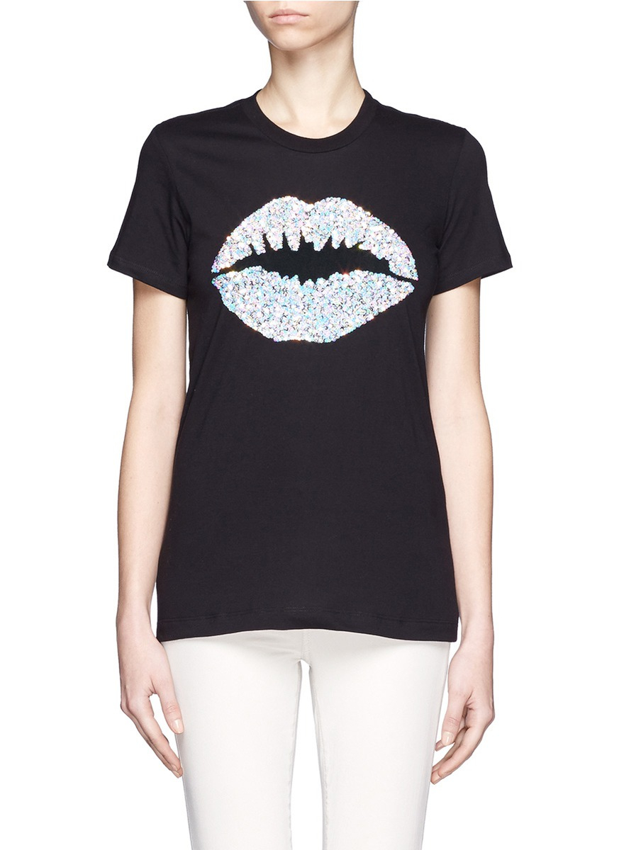 Markus Lupfer Rainbow Sequin Smacker Lip T Shirt In Black