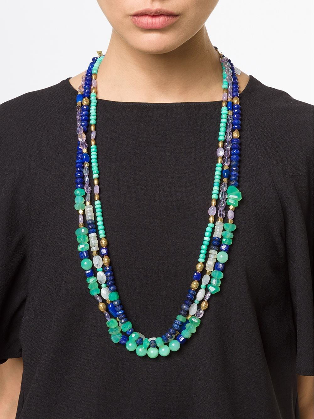 Royal Nomad Jewelry Mixed Stone Beaded Necklace In Green