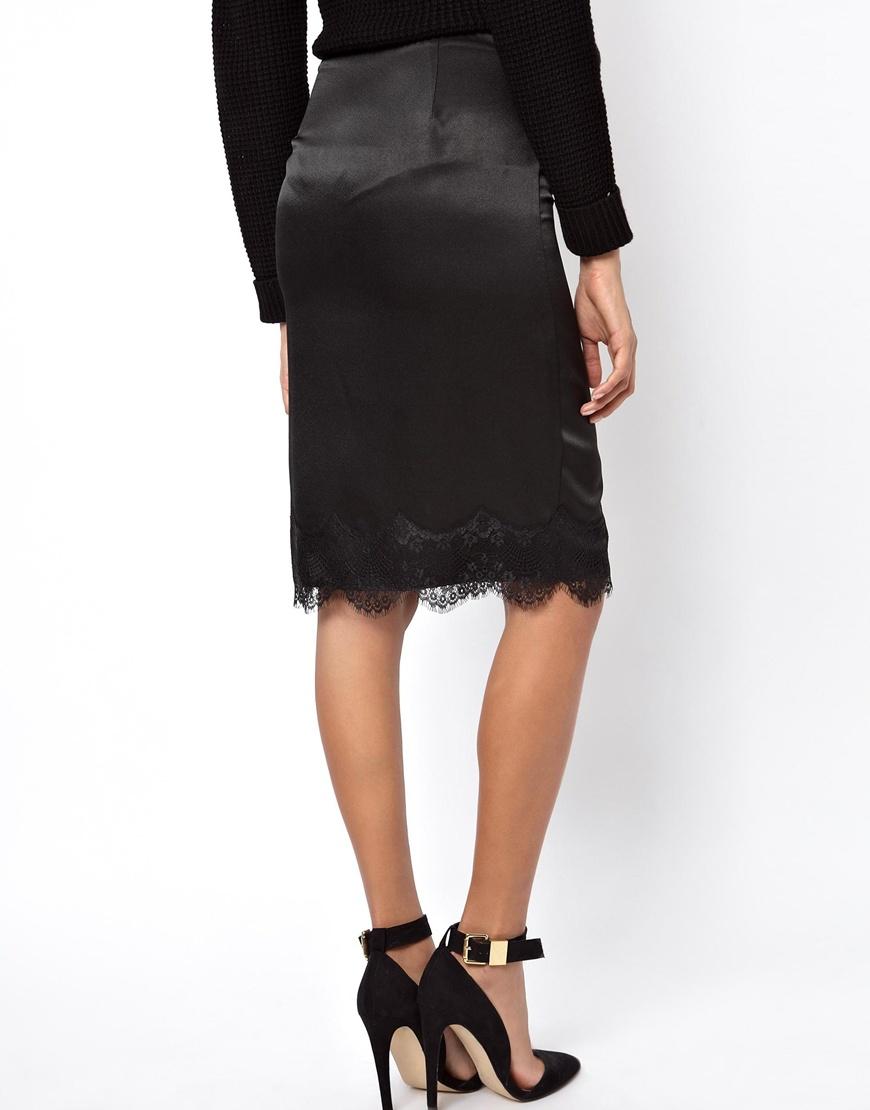 Satin Pencil Skirt Black - Skirts