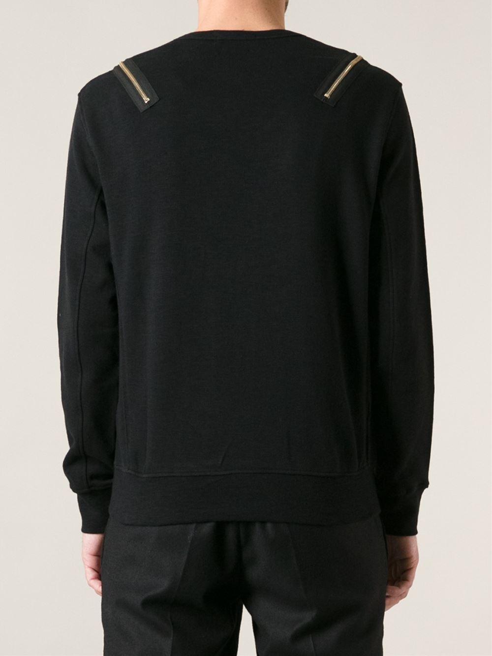 alexander mcqueen zip sweatshirt in black for men lyst. Black Bedroom Furniture Sets. Home Design Ideas
