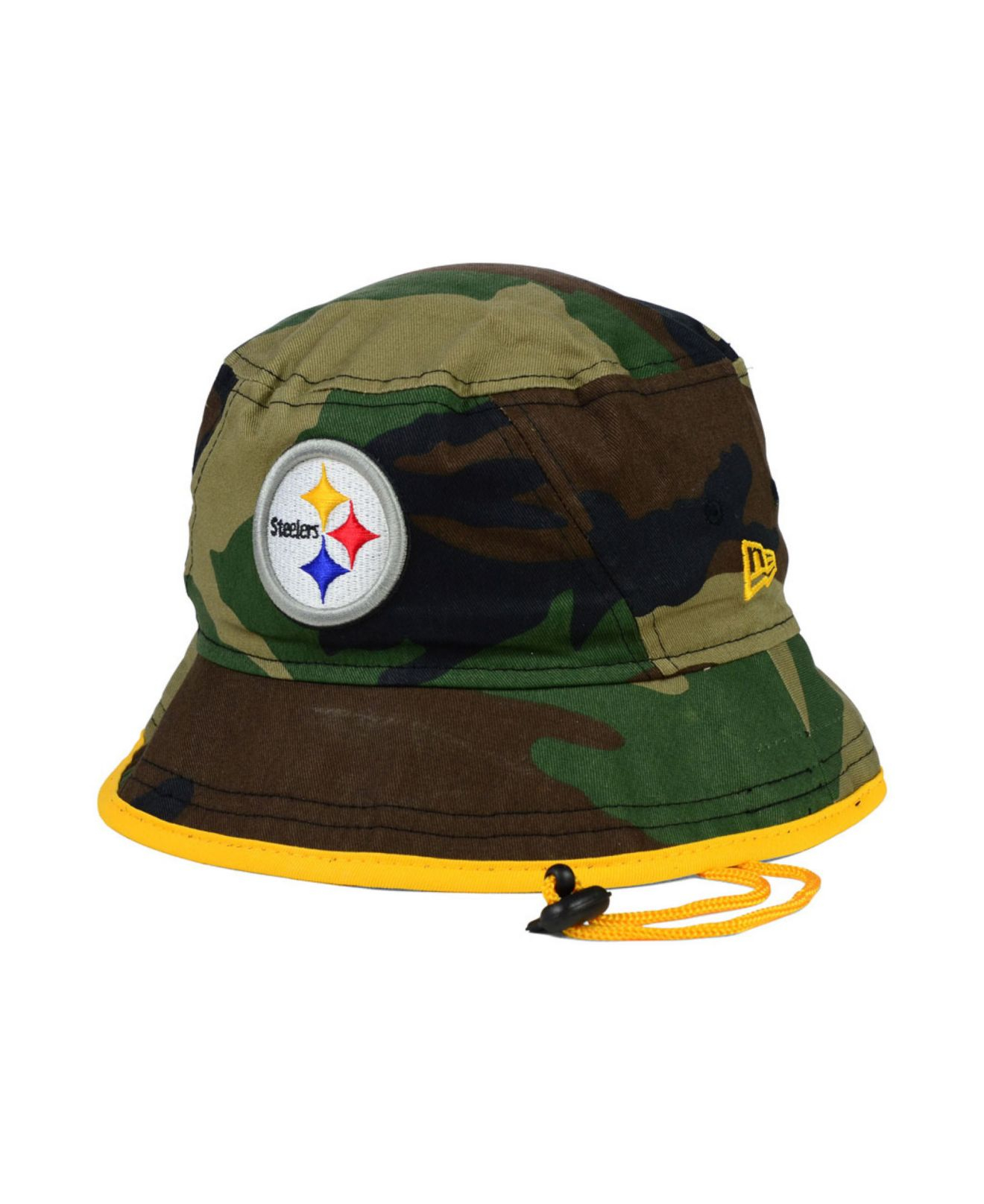 4aaa43539ae ... uk lyst ktz pittsburgh steelers camo pop bucket hat in green for men  32641 6f7c6
