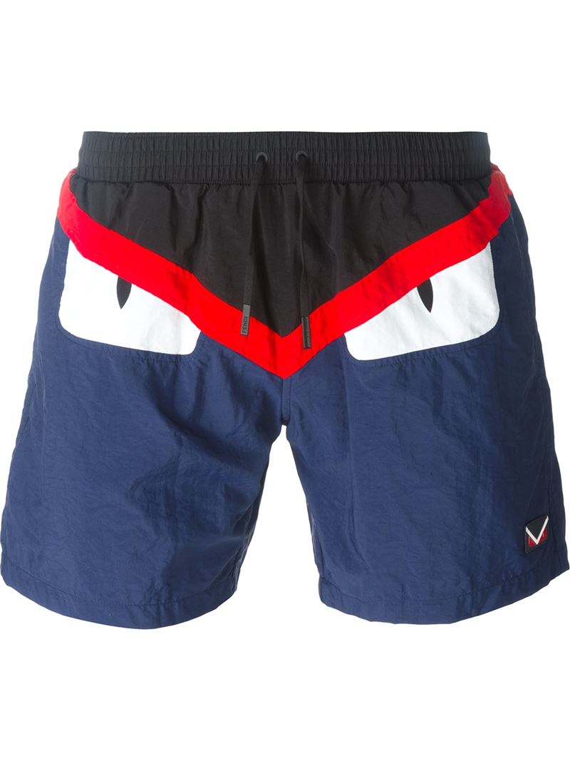 ea9da1fc2fa97 Lyst - Fendi Bag Bugs Swim Shorts in Blue for Men