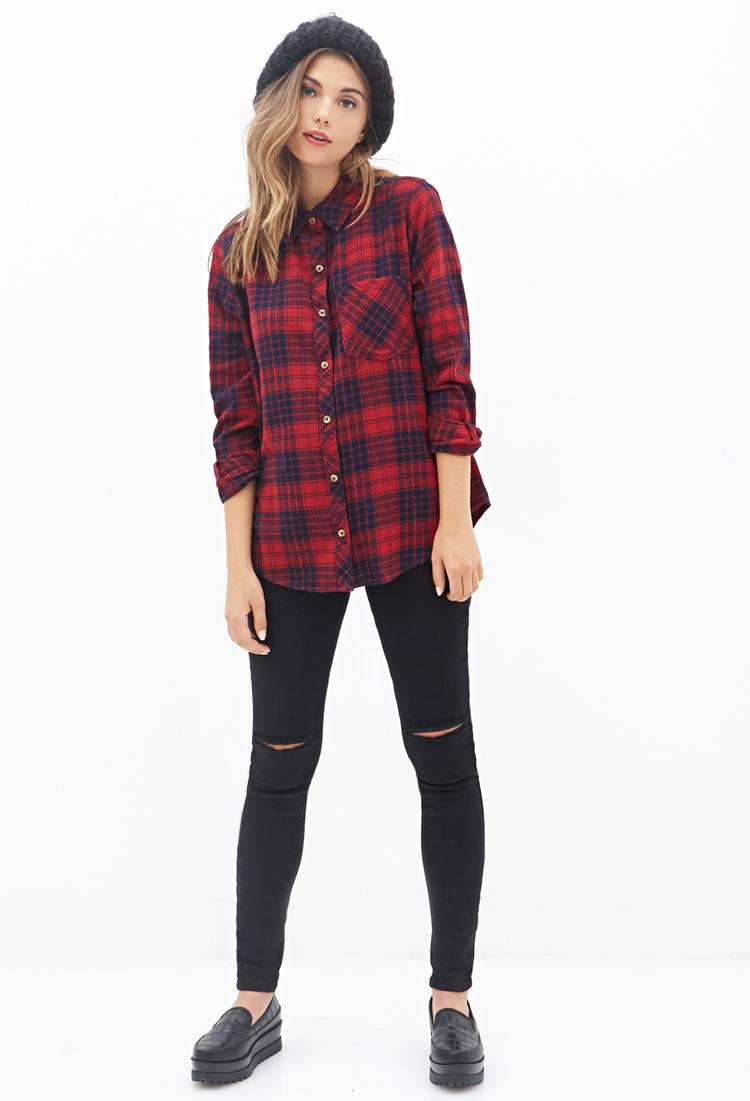 2019 year for girls- Red tartan plaid shirts for women