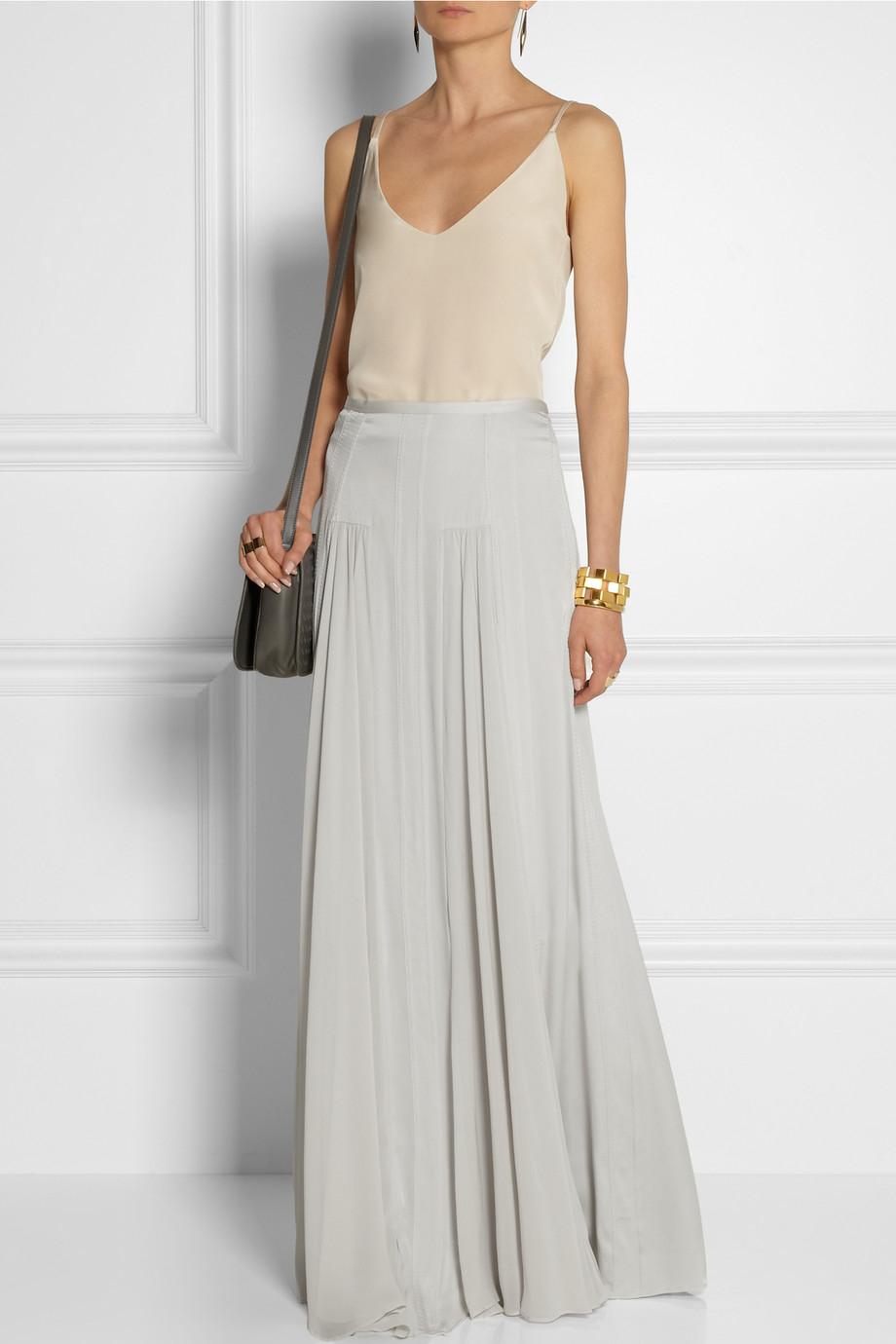 by malene birger tareza silk blend maxi skirt in gray lyst