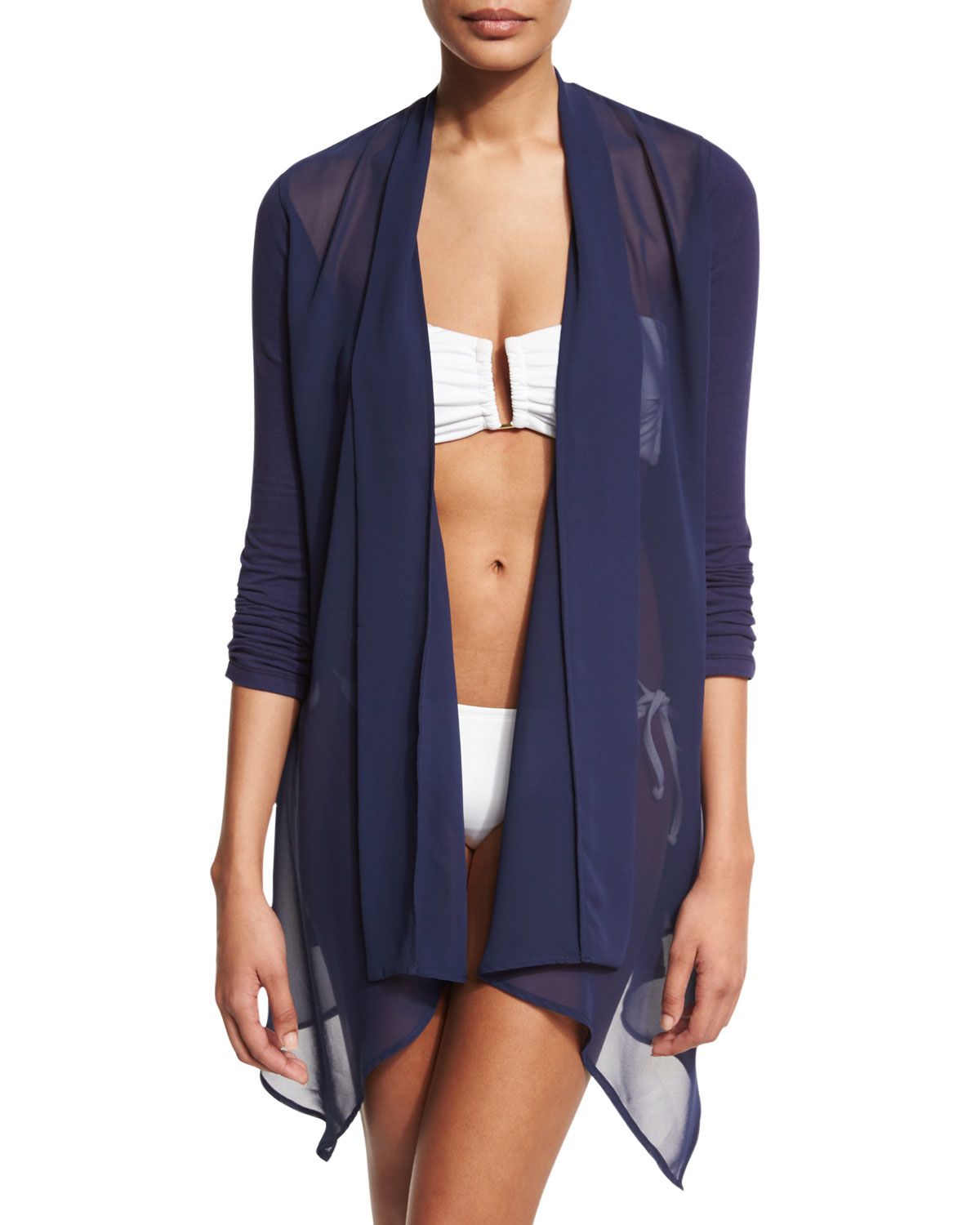 Tommy bahama Chiffon-trim Open-front Cardigan Coverup in Blue | Lyst