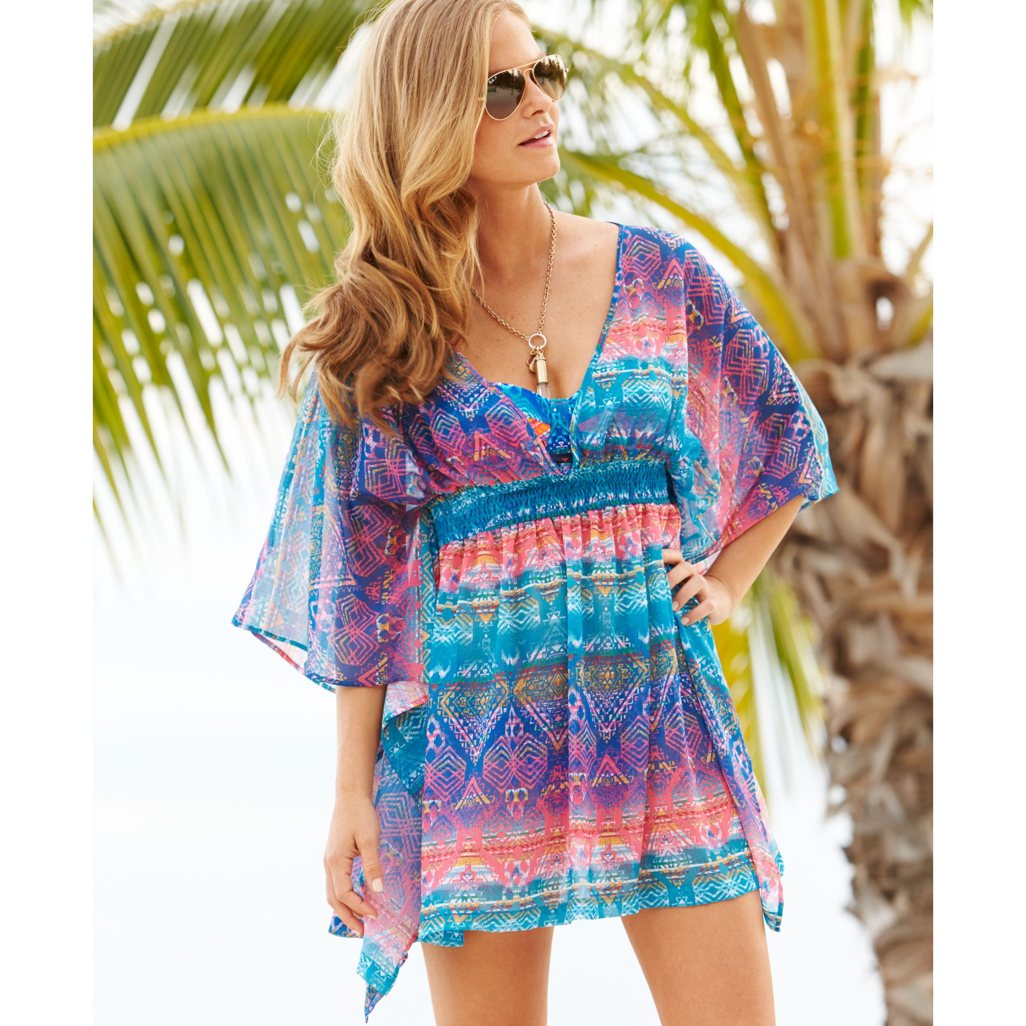 b93bce0569 Lyst - Jessica Simpson Printed Back cut-out Tunic Cover Up in Blue
