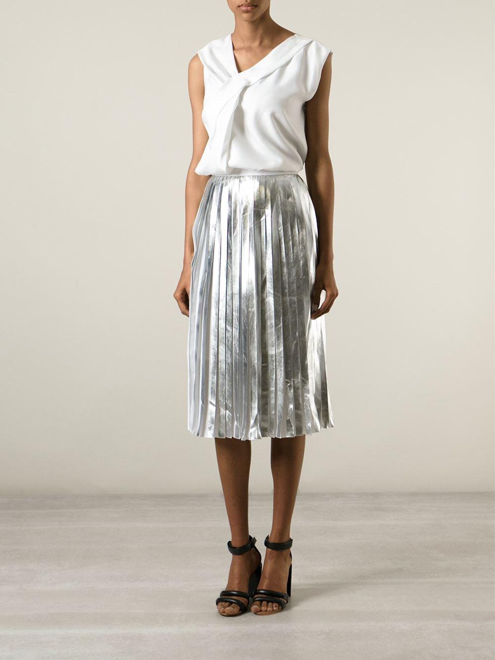 Raoul Pleated Midi Skirt in Metallic | Lyst