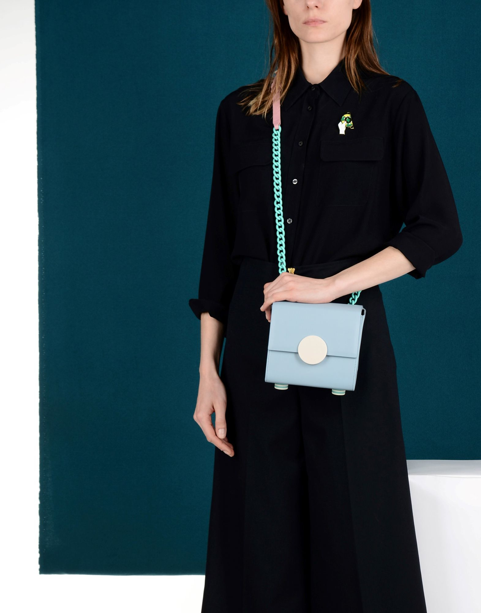 Matter Matters Leather Cross-body Bag in Sky Blue (Blue)