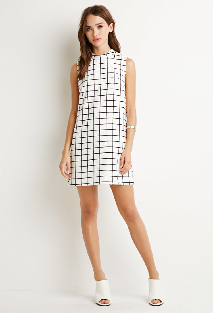 Shift dress black and white.