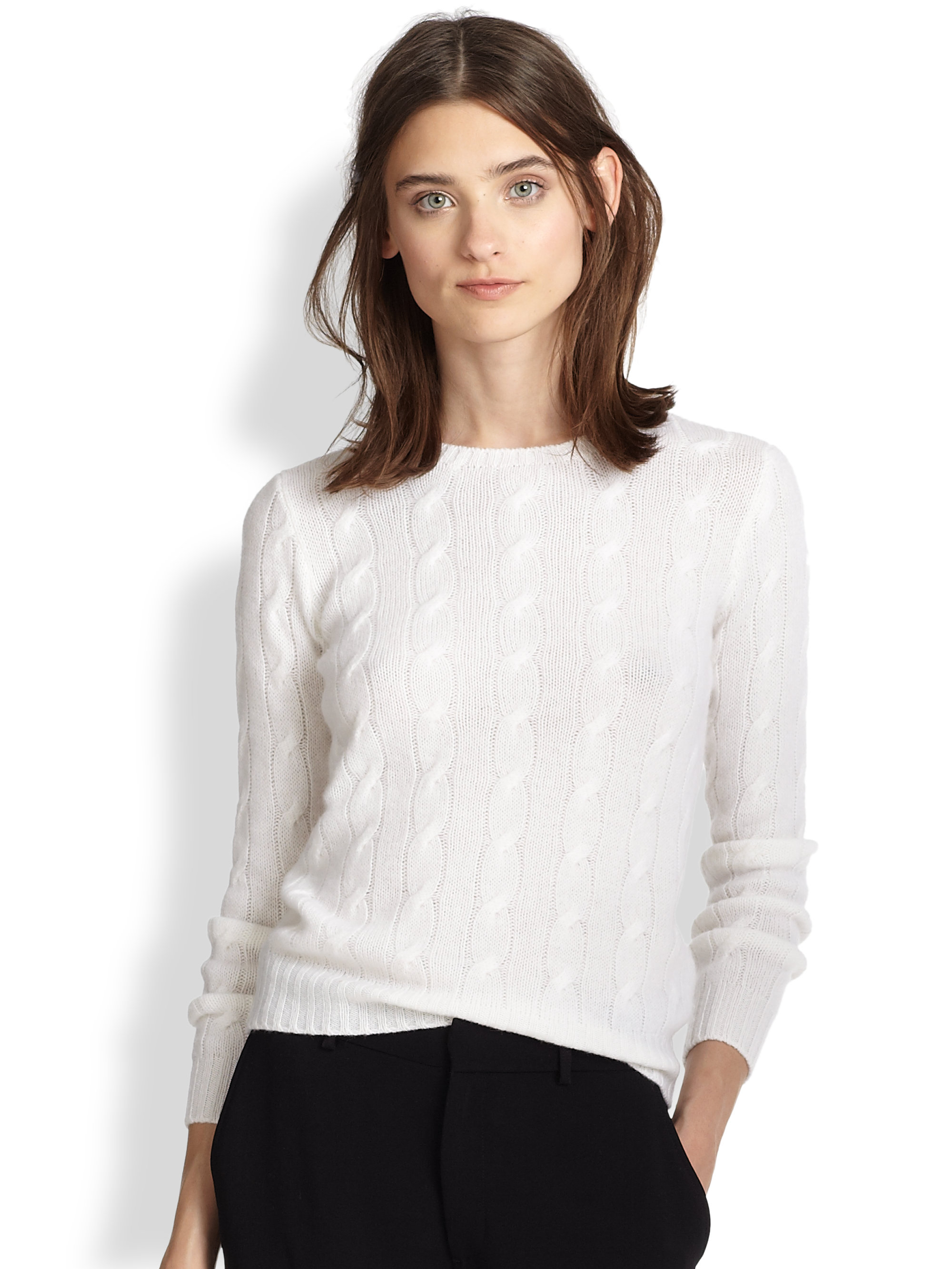 Ralph lauren black label Cable-knit Cashmere Sweater in White | Lyst