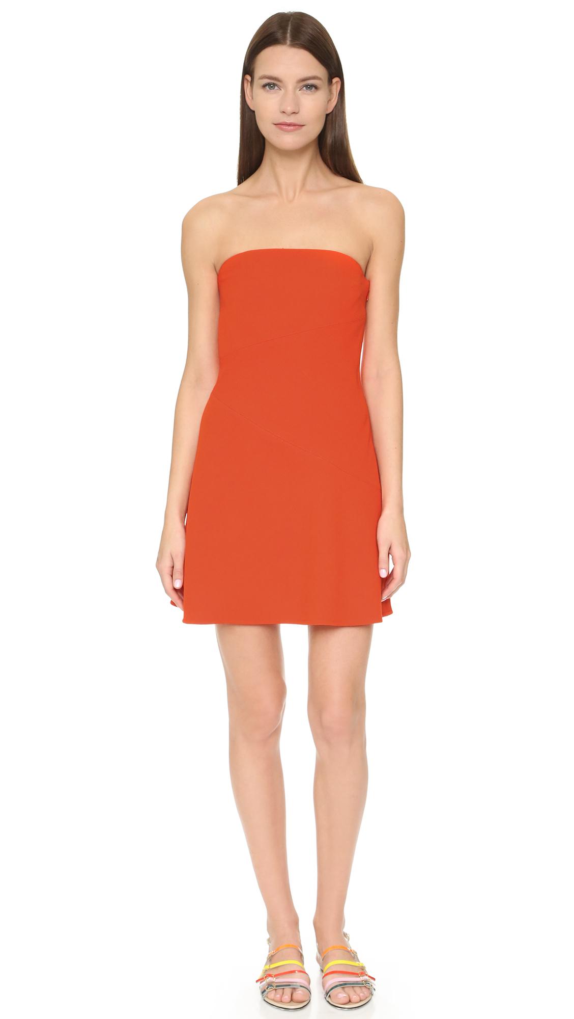 Victoria, victoria beckham Strapless Mini Dress in Orange | Lyst
