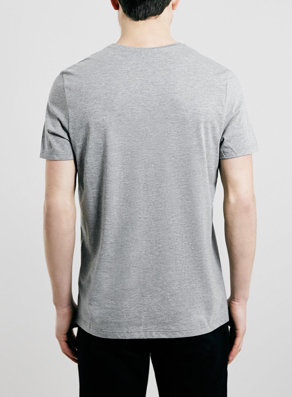 Topman grey marl slim fit t shirt in gray for men mid for Grey marl t shirt