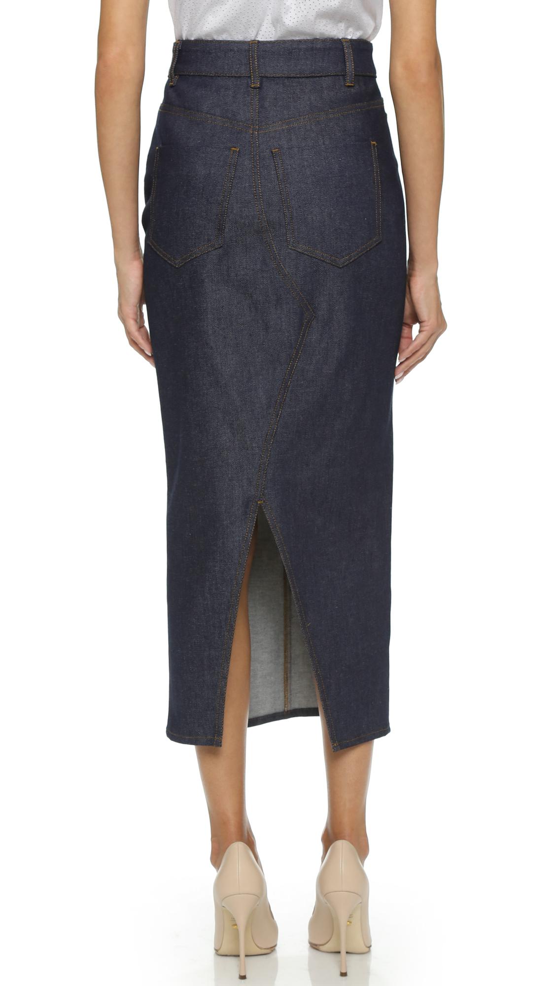 Lyst Victoria Beckham Split Denim Skirt In Blue