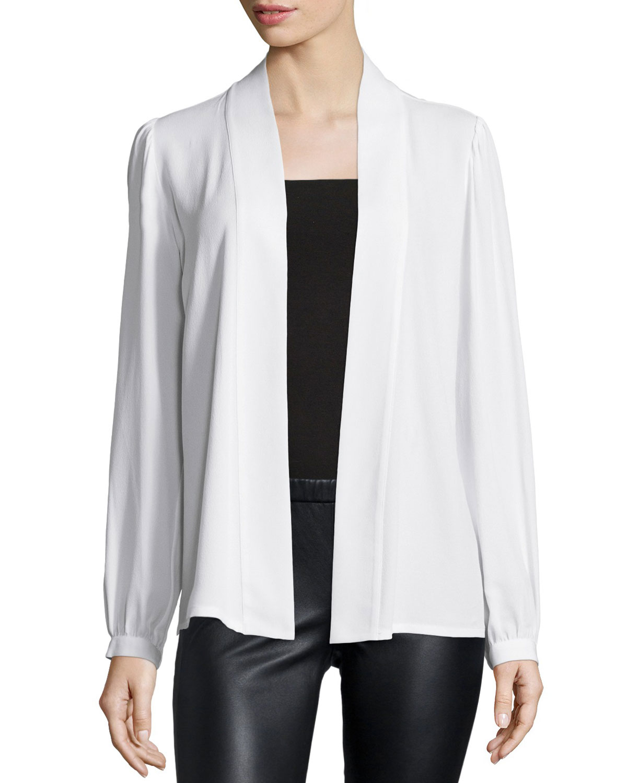michael kors long sleeve wrap blouse in white lyst. Black Bedroom Furniture Sets. Home Design Ideas