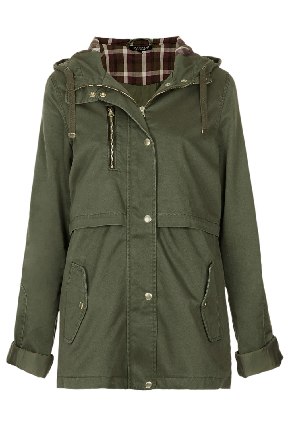 Topshop Hooded Lightweight Jacket in Green | Lyst