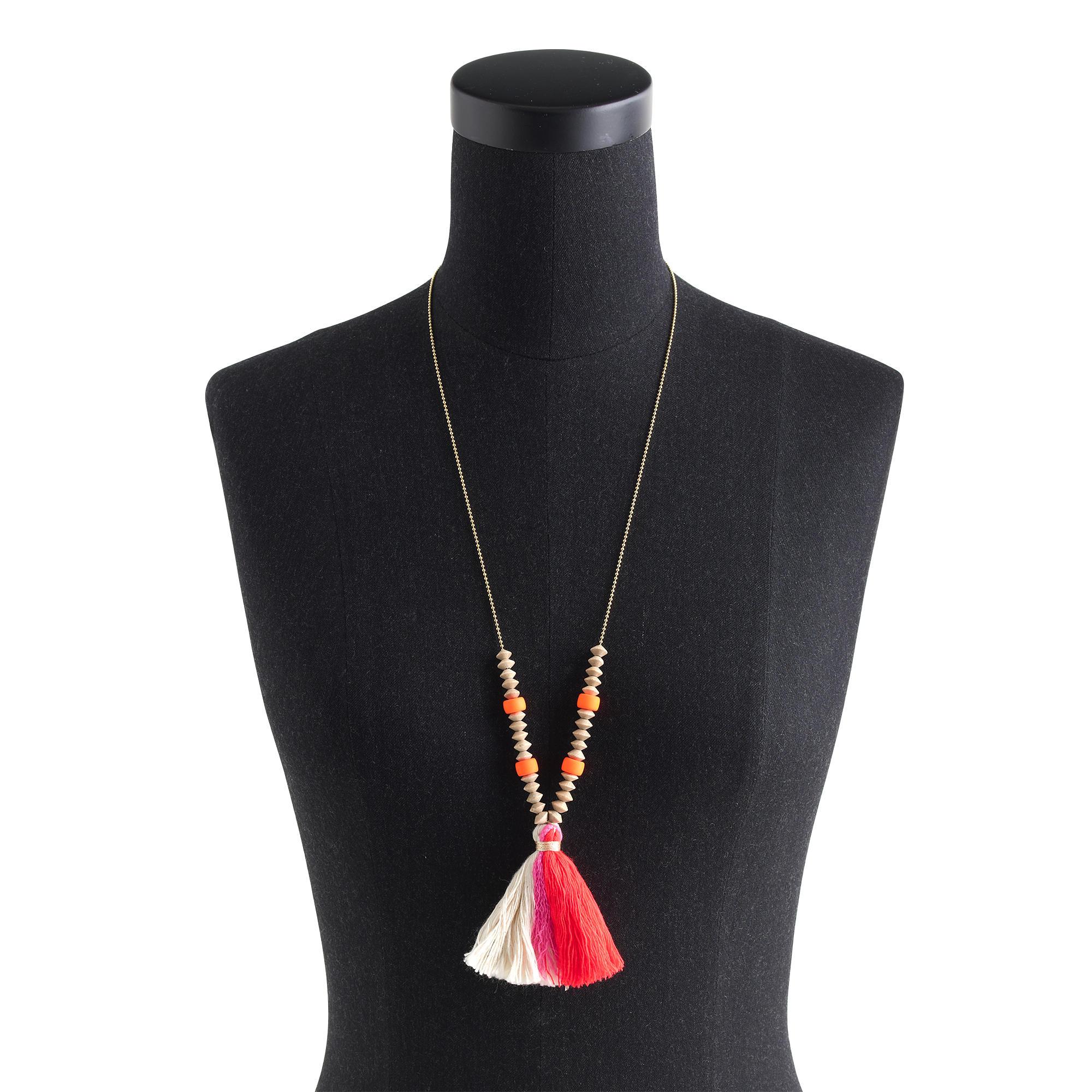 J.Crew Bluma Project Lolo Tassel Necklace in Orange Pink Red (Orange)