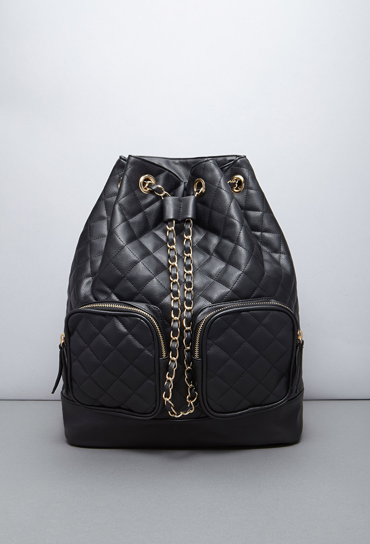 Forever 21 Quilted Faux Leather Backpack in Black Lyst