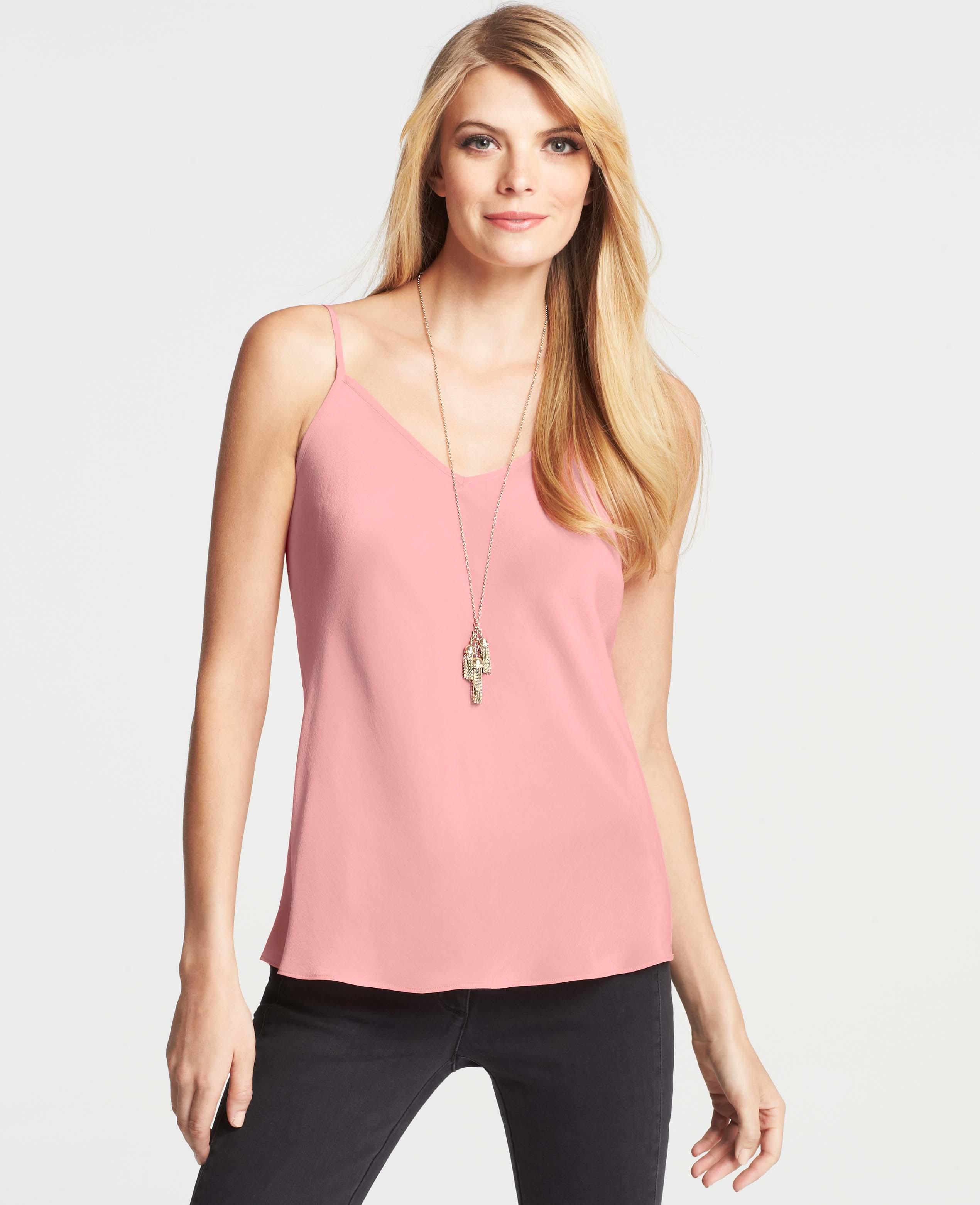 e1bcf9a9f986d Lyst - Ann Taylor Silk Cami in Pink