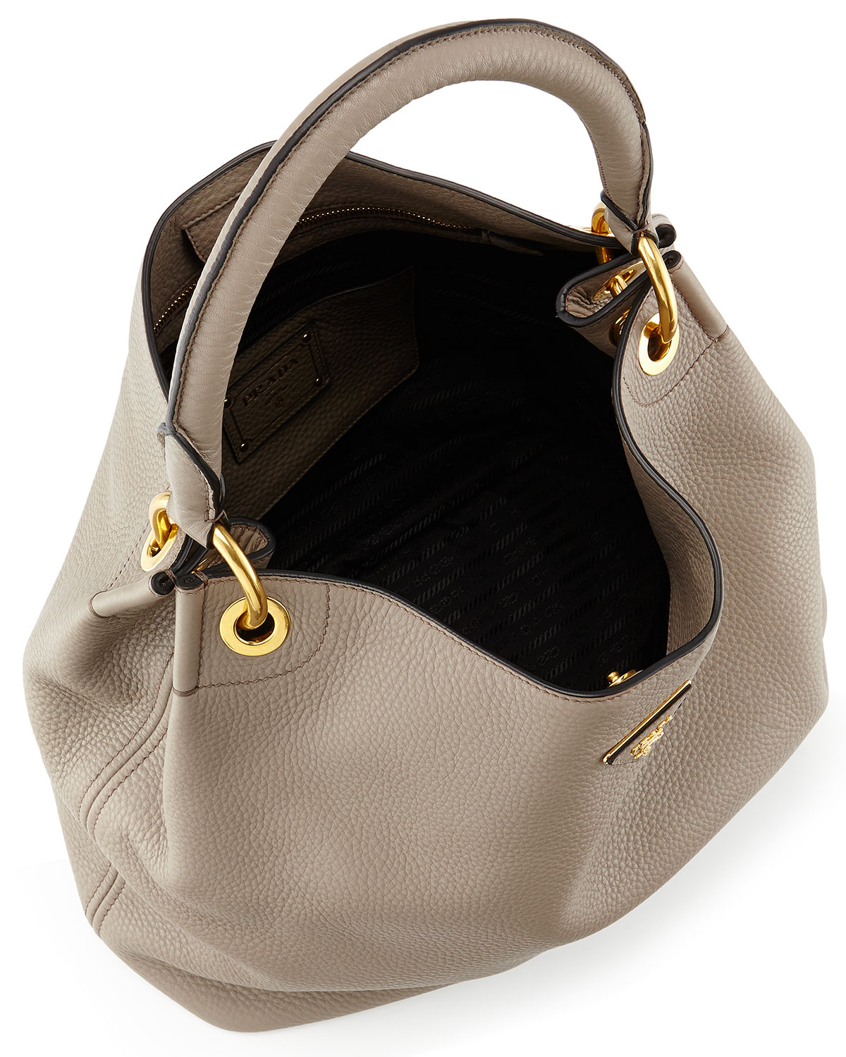Prada Vitello Daino Single-strap Hobo Bag in Gray | Lyst