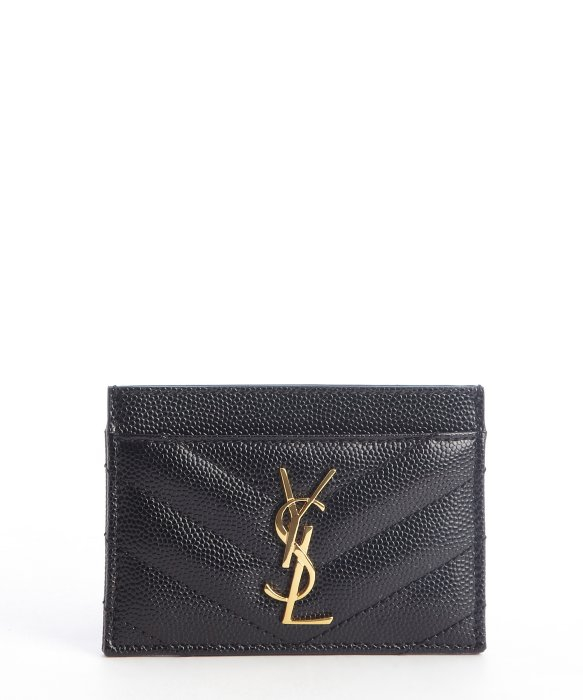 Saint laurent Black Quilted Leather Ysl Imprinted Card Case in ...