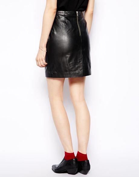 muubaa azka fitted leather skirt in black lyst