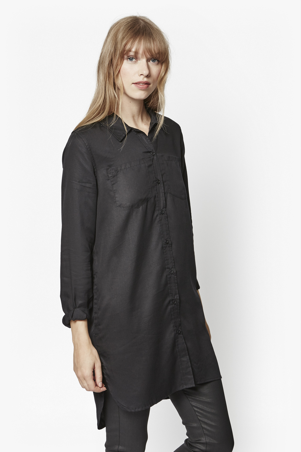 French connection cobalt tencel shirt dress in black lyst for French connection shirt dress