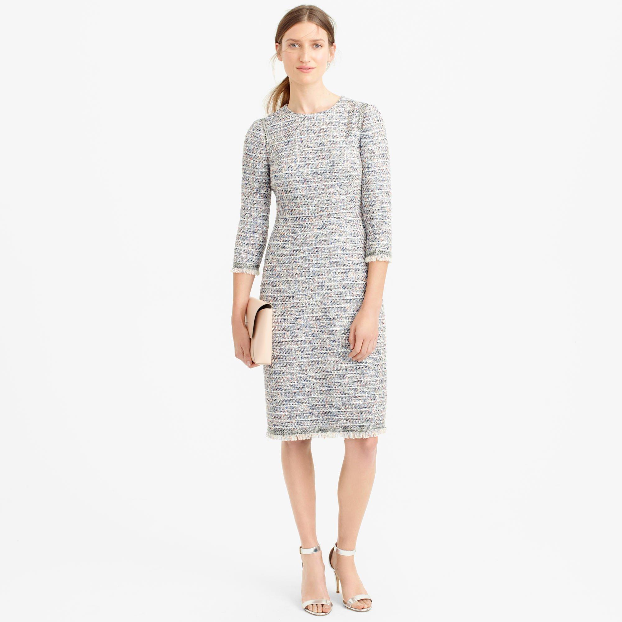 Long Sleeve Multicolored Tweed Dress With Fringe