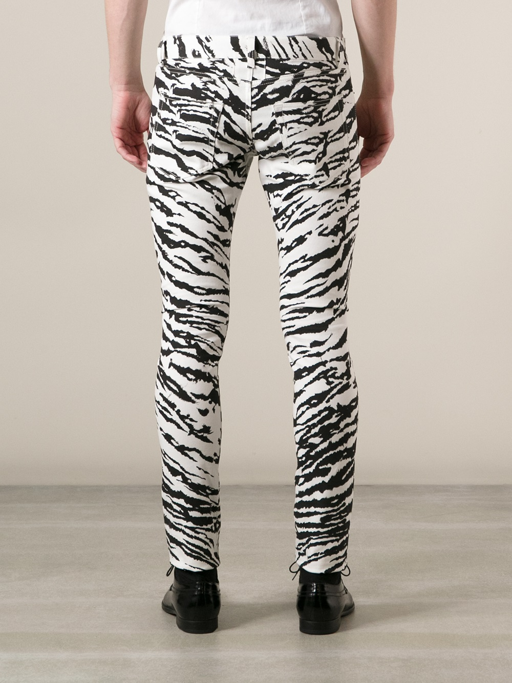 lyst saint laurent zebra print skinny jean in black for men