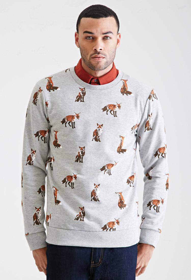 0f0fbc5ca88d25 Forever 21 Fox Print Sweatshirt in Gray - Lyst
