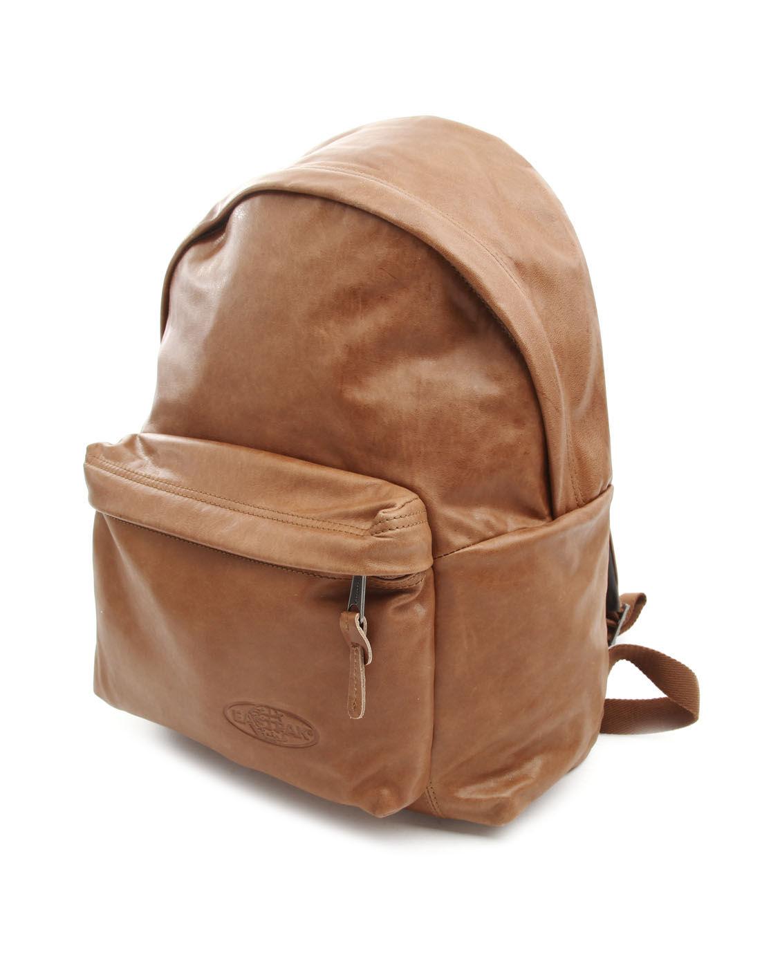 Leather Eastpak Backpack: Eastpak Padded Pak'R Camel Leather Backpack In Brown For