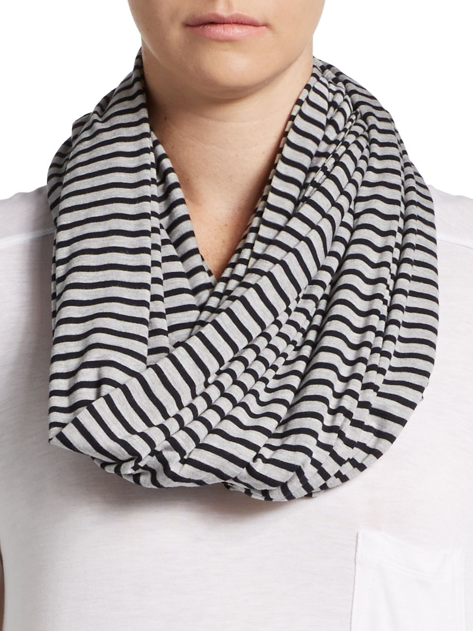 Lyst - Calvin Klein Striped Knit Infinity Scarf in Gray