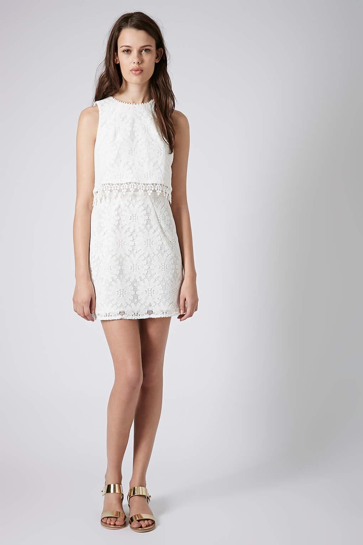 Crop Overlay Wheel Lace Dress