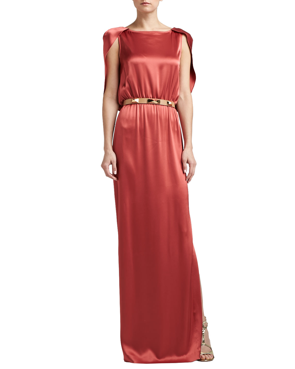 Lyst - St. John Liquid Satin Evening Gown with Capelet in Red
