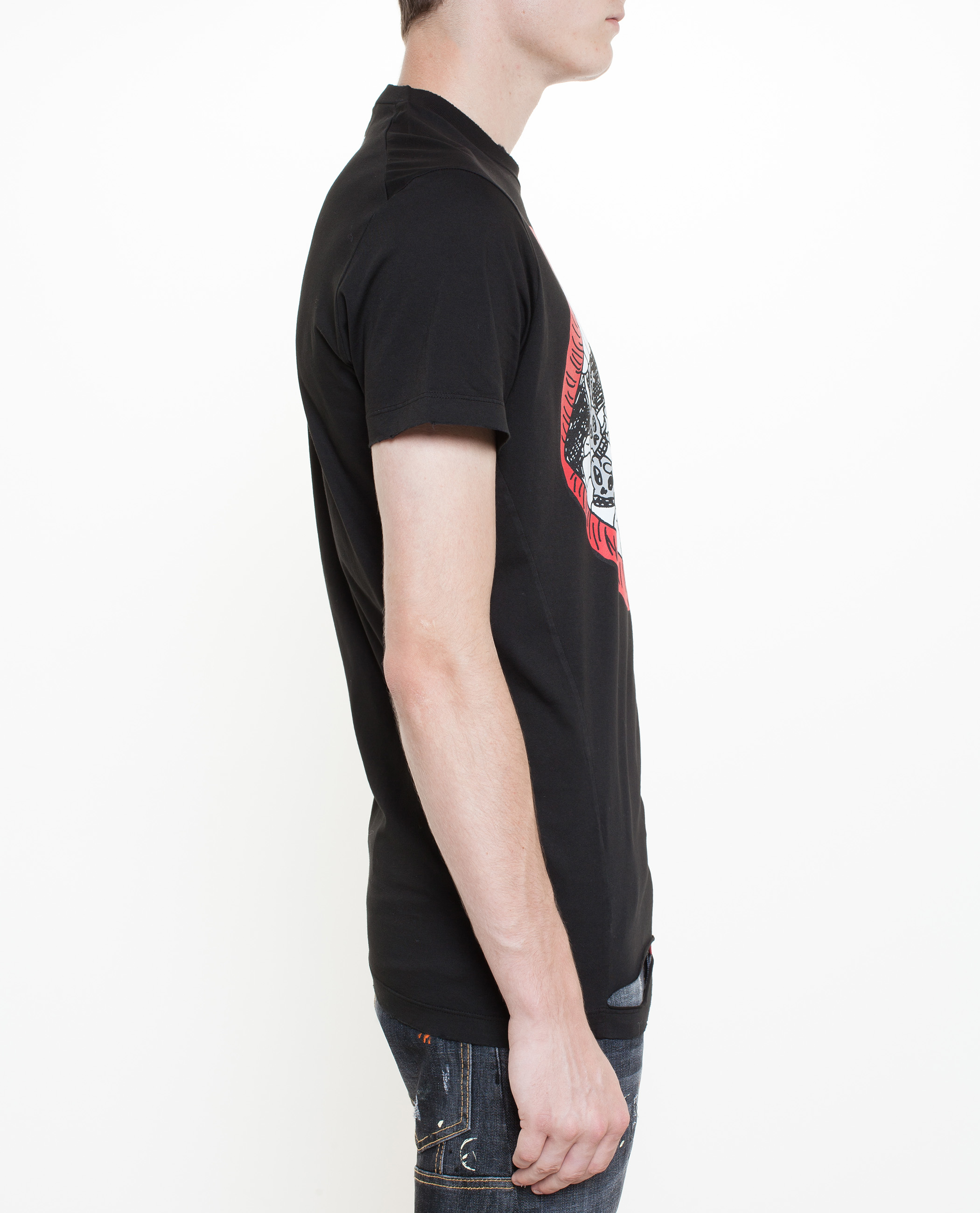 Lyst dsquared distressed t shirt with lip print in for T shirt printing mobile al