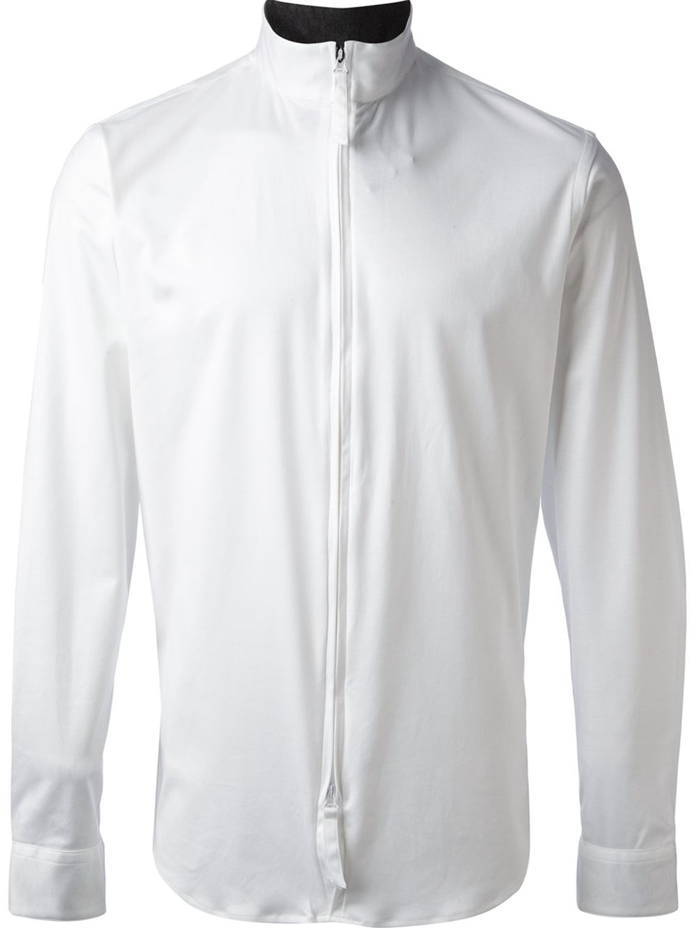 lyst giorgio armani zipped shirt in white for men